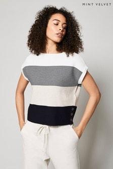 Mint Velvet Off-White Stripe Knitted Top