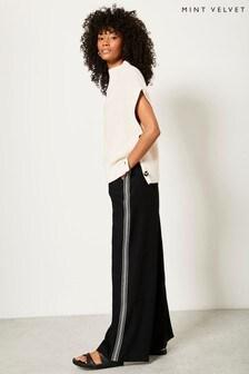 Mint Velvet Black Striped Wide Leg Trousers