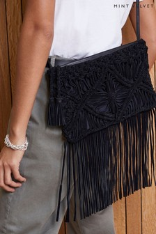 Mint Velvet Georgie Black Suede Clutch Bag