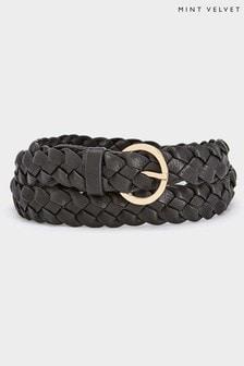 Mint Velvet Black Plaited Leather Belt