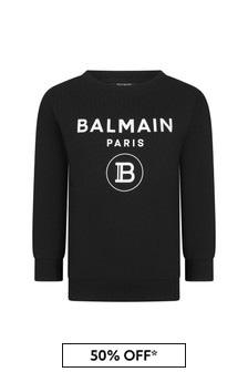 Balmain Boys Black Cotton Logo Sweater