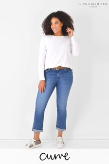 Live Unlimited Curve Mid Blue Denim Boyfriend Jeans