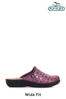 Fly Flot Purple Ladies Wide Fit Anatomic Slipper Clogs