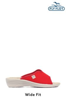 Fly Flot Red Ladies Wide Fit Mule Sandals