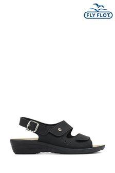 Fly Flot Black Ladies Fully Adjustable Leather Sandals