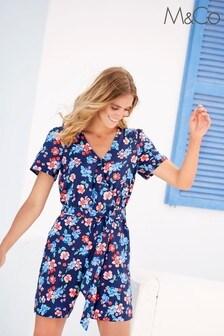 M&Co Blue Floral Wrap Playsuit