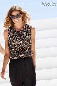 M&Co Animal Zebra Print Shell Top