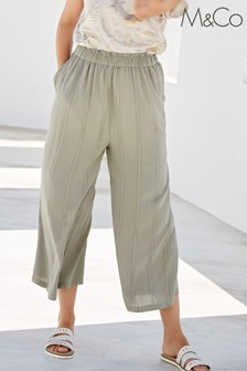 M&Co Green Crinkle Crop Culottes