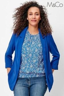 M&Co Blue Crepe Blazer