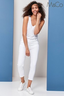 M&Co White Supersoft Straight Crop Jeans
