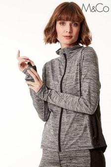 M&Co Grey Athleisure Zip Through Top