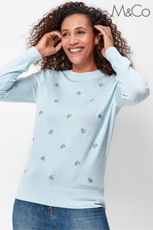M&Co Blue Floral Embroidered Jumper