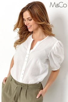 M&Co White Textured Puff Sleeve Top