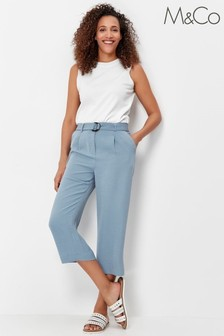 M&Co Blue Cropped Belted Trousers
