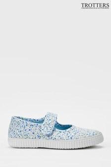 Trotters London Blue Floral Martha Canvas Shoes