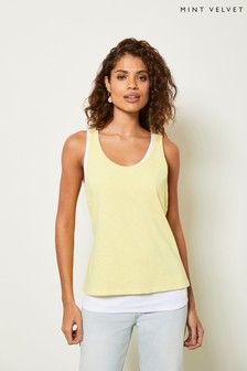 Mint Velvet Yellow Layered Cotton Vest