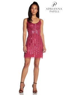 Hailey Logan by Adrianna Papell Red Beaded Mini Cocktail Dress