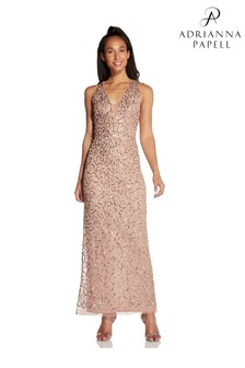 Hailey Logan by Adrianna Papell Pink Beaded Column Gown