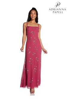 Hailey Logan by Adrianna Papell Red Nearly Nude Beaded Gown
