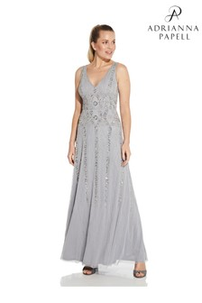 Hailey Logan by Adrianna Papell Silver Beaded Gown With Soft Skirt