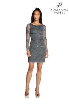 Hailey Logan by Adrianna Papell Grey Short Beaded Boat Neck Dress