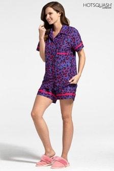 Hot Squash Animal Jersey Shorts Pyjama Set With Buttons