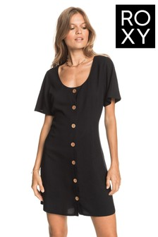 Roxy Black All Eyes On Love Short Sleeve Dress