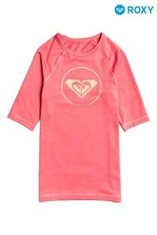 Roxy Pink Beach Classics Short Sleeve UPF 50 Rash Vest