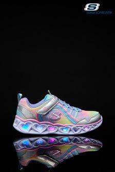 Skechers Silver Heart Lights Rainbow Lux Shoes