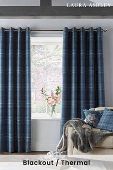 Dark Seaspray Blue Alfriston Black Out Eyelet Blackout/Thermal Curtains