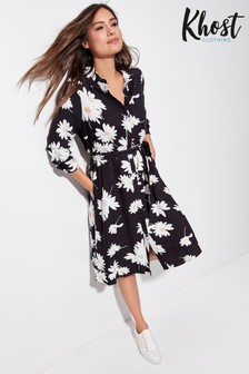 Khost Daisy Floral Print Midi Shirt Dress