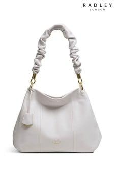 Radley White Cuba Street Ruffle Medium Zip Top Shoulder Bag