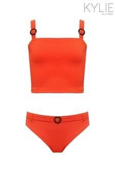 Kylie Orange Buckle Rib Tankini