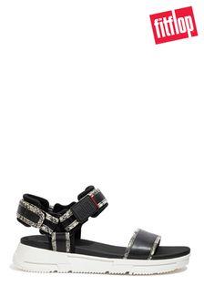 FitFlop Black Heda Snake-Trim Sandals