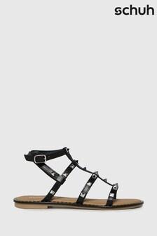 Schuh Black Tara Leather Studded Gladiator Sandals