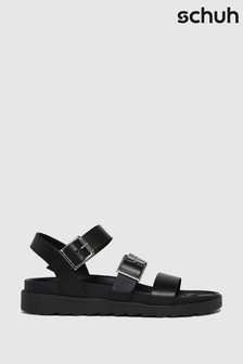 Schuh Black Chaser Leather Chunky Buckle Sandals