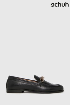 Schuh Black Libby Leather Chain Loafers