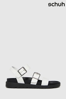 Schuh White Chaser Leather Chunky Buckle Sandals