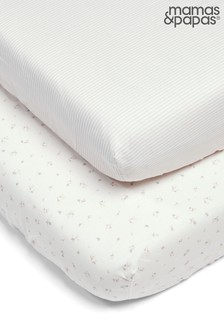 2 Pack Mamas & Papas Welcome to the World Floral Fitted Sheets