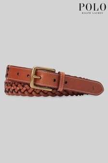 Polo Ralph Lauren Tan Leather Braided Belt