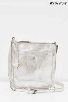 White Stuff Metallic Craft Leather Cross-Body Bag