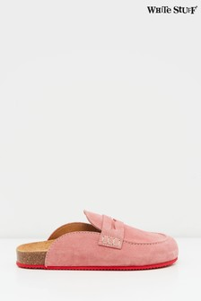 White Stuff Pink Backless Loafers