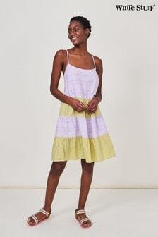White Stuff Purple Concha Tiered Woven Dress