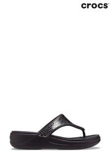 Crocs Monterey Metallic Wedge Flip Flops