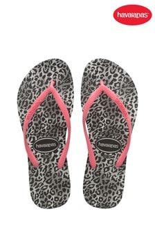 Havaianas Black Slim Leopard Flip Flops