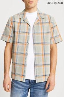 River Island Green Check Short Sleeve Textured Revere Shirt