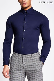 River Island Navy Long Sleeve Muscle Fit Shirt