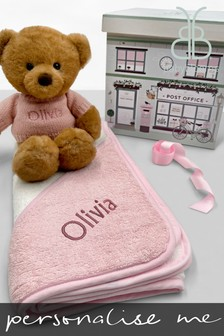 Babyblooms Personalised Charlie Bear With Hooded Towel Baby Gift