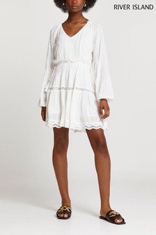 River Island White Printed Broderie Dress