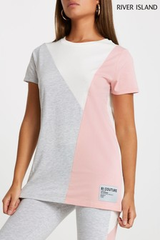 River Island Grey Diagonal Blocked T-Shirt